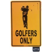 """Seaweed Surf Co AT7A 12""""L x 18""""H Aluminum Sign Golfers Only, Orange and Black (SURF164)"""