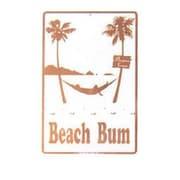 """Seaweed Surf Co Beach Bum Aluminum Sign, 18""""L x 12""""W, White (SURF018)"""