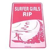 "Seaweed Surf Co 12"" x 18"" Aluminum Sign ""Surfer Girls Rip"", Purple (SURF020)"