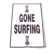 """Seaweed Surf Co 12"""" x 18"""" Aluminum Sign Tiki """"Gone Surfing"""" (SURF40)"""