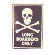 """Seaweed Surf Co Long Boarders Only Aluminum Sign, 12""""W x 18""""H, Black and White (SURF041)"""