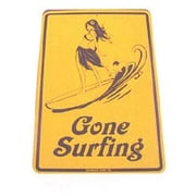 """Seaweed Surf Co 12"""" x 18"""" Aluminum Sign """"Gone Surfing"""", Yellow (SURF046)"""