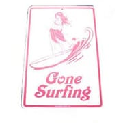 "Seaweed Surf Co 12"" x 18"" Aluminum Sign ""Gone Surfing"", Pink (SURF048)"