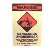 Seaweed Surf Co SF53 12X18 Aluminum Sign Warning Shorebreak