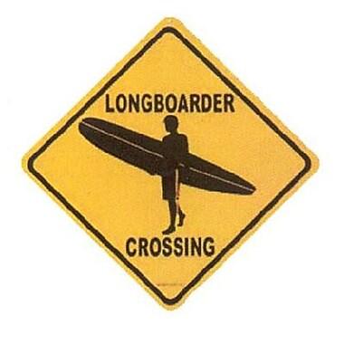 Seaweed Surf Co Longboarder Crossing Aluminum Sign, 12