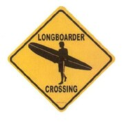 "Seaweed Surf Co Longboarder Crossing Aluminum Sign, 12""W x 12""H (SURF008)"