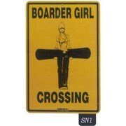 "Seaweed Surf Co 12"" x 18"" Aluminum Sign ""Boarder Girl Crossing"" (SURF130)"