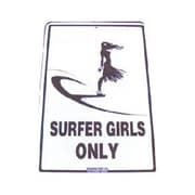 "Seaweed Surf Co Surfer Girls Only Sign, 18""L x 12""W, Aluminum (SURF015)"