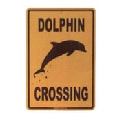 """Seaweed Surf Co 12"""" x 18"""" SF4 Aluminum Sign Dolphin Crossing (SURF004)"""