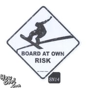 "Seaweed Surf Co 12"" x 18"" Aluminum Sign ""Board at Own Risk"" (SURF143)"