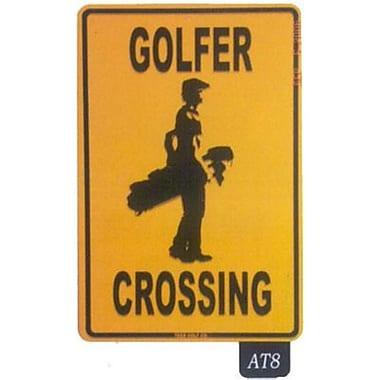 Seaweed Surf Co Golfer Crossing Aluminum Sign, 12
