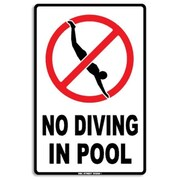 "Seaweed Surf Co AA6 No Diving Sign, 18""H x 12""W, Aluminum (SURF177)"