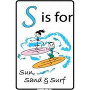 "Seaweed Surf Co ""S is For"" Stick Figures Sign (SURF298)"