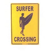 Seaweed Surf Co SF38 12X18 Aluminum Sign Surfer Crossing