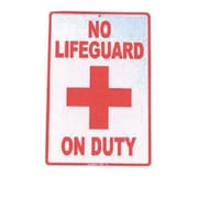 "Seaweed Surf Co No LifeGuard On Duty Aluminum Sign, 12""W x 18""L (SURF003)"