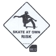 "Seaweed Surf Co 12"" x 12"" Aluminum Sign ""Skate at Own Risk"" (SURF128)"