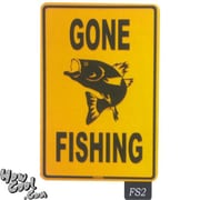 "Seaweed Surf Co Gone Fishing Aluminum Sign, 12""W x 18""L, Orange and Black (SURF171)"