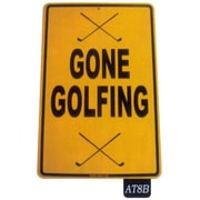 """Seaweed Surf Co Gone Golfing Aluminum Sign, 18""""L x 12""""W, Yellow (SURF167)"""