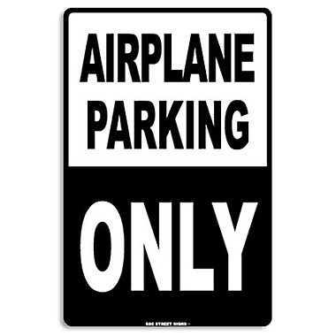Seaweed Surf Co Airplane Parking Only Aluminum Sign, 18