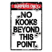 "Seaweed Surf Co No Kooks Beyond this Point Sign, 18""H x 12""L, Aluminum (SURF218)"