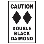 "Seaweed Surf Co Caution Double Black Diamond Sign, 18""H x 12""L (SURF321)"