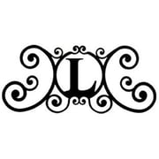 "Village Wrought Iron Letter L House Plaque, 24""W x 11""H, Black (VW1136)"
