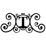 "Village Wrought Iron Letter ""T"" House Plaque, Black (VW1160)"
