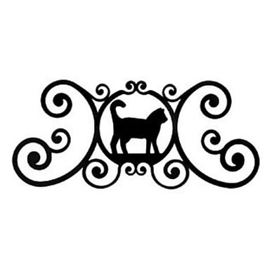 Village Wrought Iron Adirondack Cat Over-Door Plaque (VW2051)