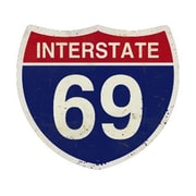 "Past Time Signs Interstate 69 Street Signs Custom Metal Shape, 16""W x 16""H (PSTMS2506)"