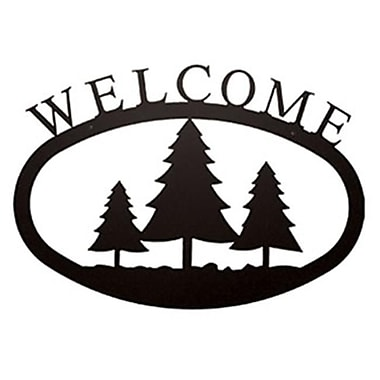 Village Wrought Iron Large Pine Trees Welcome Sign (VW1589)