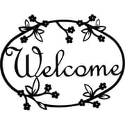 "Village Wrought Iron Floral Welcome Sign, Medium 2 1/4""W x 8 1/2""H (VW1579)"
