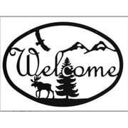 Village Wrought Iron Moose and Eagle Welcome Sign, Medium (VW182)