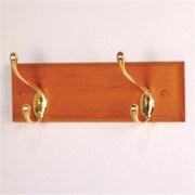 Wooden Mallet 2 Hook Coat Rack, Medium Oak, Brass (WDNM193)