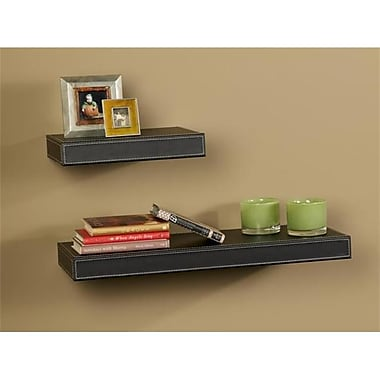 Amore Designs LTHR24BK Leather Shelving Black, 10 x 24 in.