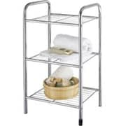 HOMEBASIX Shelf, 3-Tier, 4 Casters, Chrome (ORGL17022)