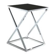 "Convenience Concepts Boulevard ""X"" Frame End Table with Black Glass/Chrome Finish (RTL52466)"
