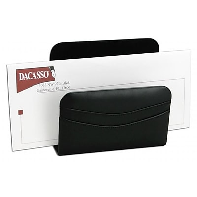 Dacasso A1008 Hand-Tucked Genuine Top-Grain Leather Letter Holder, Black (DCSS126)