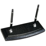 Dacasso Black Crocodile Embossed Leather Double Pen Stand (DCSS238)