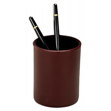 Dacasso Leather Round Pencil Cup, Burgundy, 4.75