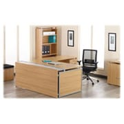 "Lorell SPRCH39919 Double Desk Top with Wire Channel, 72"" x 67"" x 8"", Latte"