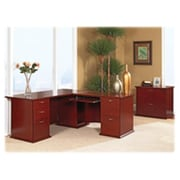"Lorell SPRCH30836 Bow Front Desk, Right Pedestal, 72""L x 34""W x 29""H, Mahogany"