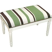 123 Creations Wool Green Striped Upholstered Needlepoint Bench in White Wash create411