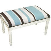 123 Creations Stripes in Blue Needlepoint Bench in White Wash, 100 Percent Wool (create417)