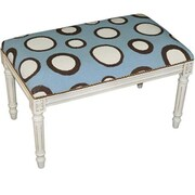 123 Creations Dots in Blue Needlepoint Bench in White Wash, 100 Percent Wool (create423)