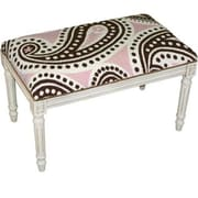 123 Creations Brown and Pink Paisley Needlepoint Bench, White (CREATE1109)