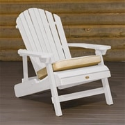 Highwood Synthetic Wood Folding and Reclining King-Size Adirondack Chair, White, HGWD105