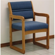 Wooden Mallet Valley Guest Chair in Medium Oak/Powder Blue (WDNM517)