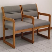 Wooden Mallet Valley Fabric Two Seat Chair with Center Arms in Medium Oak, Arch Slate, WDNM542