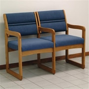 Wooden Mallet Valley Two Seat Chair with Center Arms, Powder Blue and Medium Oak WDNM565