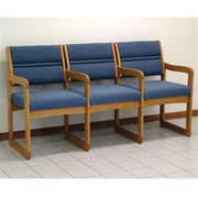 Wooden Mallet Valley Three-Seat Chair with Center Arms in Light Oak/Powder Blue (WDNM603)